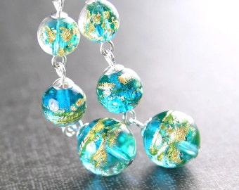 Venetian Glass Aqua Blue Earrings Sterling Silver Hook Earrings Authentic 24k Gold Foil Murano Glass Sea Blue Dangle Drop Earrings