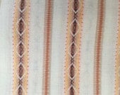 "Vintage Woven Cotton Fabric, Diamond Pattern Ticking Stripes in Brown, Tan, Yellow and Burnt Orange on White, 35"" x 44"" wide"