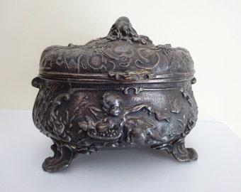 RARE Large Art Nouveau Jewelry Box with Cherubs Bluebirds Salamander Roses Lattice - Ornate Repousse Rococo Details
