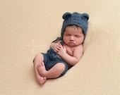 Denim Blue Mohair Teddy Bear Hat and Shorts Set Newborn Baby Photography Prop