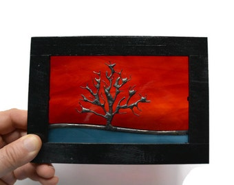Stained Glass Miniature Panel - Tree Silhouette in Sunset Suncatcher Window