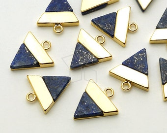 PD-1401-GD / 2 Pcs - Gemstone Metal Mix Pendant, Lapis Lazuli Inverted Triangle Charm, Gold Plated over Brass / 12mm x 13mm