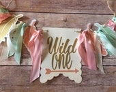 NEW!!  Wild One | Peach Mint Gold | High Chair Banner | photo prop