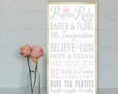 Princess Rules Wall Art - Typography Word Art on Wood Nursery or Playroom Sign