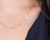 Sideways Initial Script Gold Letter Necklace, Gold Letter Necklace, Simple Gold Necklace, Monogram Initial Gold Necklace, Silver, Rose Gold