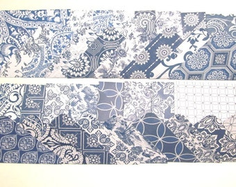 18 Large Handmade Envelopes - Blue and White Prints from Blue Rose Cottage Collection