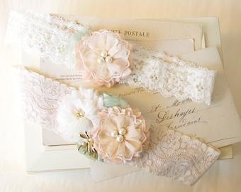 Custom Designed Wedding Garter Set, Lace Garter, Bridal Garter, Garter with Flowers, Keepsake Garter, Toss Garter, Made to Order Garter Set