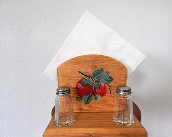 Napkin Holder,Strawberry Decor,Strawberry Kitchen Decor,Wooden Napkin Holder,Napkin Holder with salt and pepper caddy,Napkin Storage