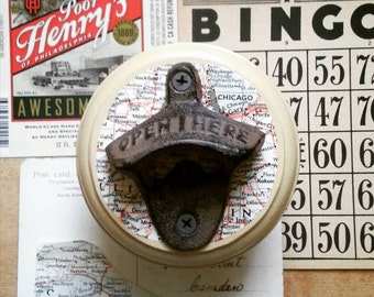Bottle Opener Made From a Vintage Map of Chicago, wall Mounted Beer Bottle Opener, Cool Gift Idea for Dads, Groomsmen