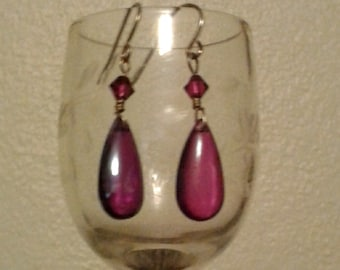 Purple Dangle Earrings for pierced ears  L@@k