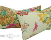 Set of Two - Portobello Vase Pillow Covers - Floral - Modern - flowers - butterfly - 12 x 22 inch lumbar - ready to ship