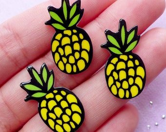 Pineapple Acrylic Cabochons | Harajuku Kei Decoden Supplies (3 pcs / 13mm x 25mm) FCAB502