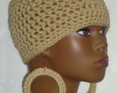 Made to Order Oatmeal Crochet Beanie Skullcap with Earrings by Razonda Lee Razondalee