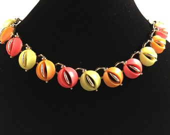 Lisner Lucite Necklace, Vintage Jewelry, Lisner Jewelry, Orange Yellow Pink Choker Lisner Necklace, Mod Lucite Choker, Mid Century Jewelry