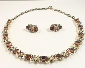 Lisner Rhinestone Choker Necklace & Earrings, Vintage Jewelry Set, Lisner Choker, Topaz Rhinestone Jewelry, Lisner Necklace, LIsner Jewelry