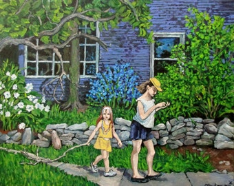 "ORIGINAL Acrylic Painting on Canvas board ""An Easy Day"" Sisters,Girls,Landscape,Flowers,Springtime,Handsigned by artist Patty Fleckenstein"