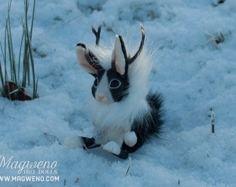 Dutch Black and White Jackalope, rabbit with antlers, themed fantasy art doll