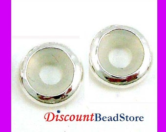 5pcs 7mm Sterling Silver Bead blocker Stopper for 2.5mm Leather, metal cord made in USA BB17