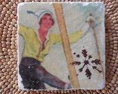 "Marble Stone Coaster - ""Vintage Ski Gal"" - Ski Decor - Decorative Tile - Ski Gift - Skier - Nordic - Alpine - Coaster"