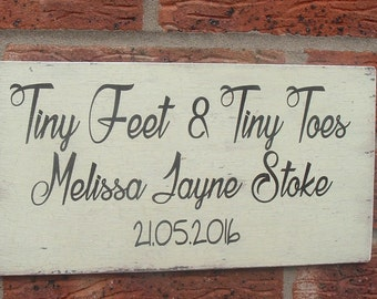 shabby chic distressed newborn wooden sign plaque personalized sign christening