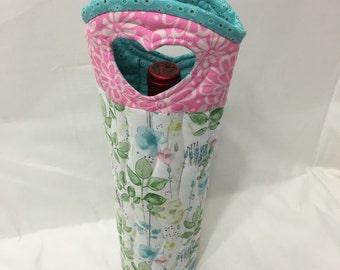 Floral Wine Bag Gift Tote Bag Fabric Wine Bag Handmade in USA