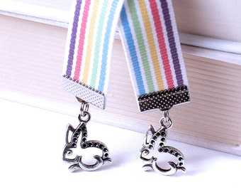 Stripe Ribbon Bookmark - Polka Dot Bunnies, Bright Pink, Lime Green, Lemon Yellow, Sky Blue, Bright Purple