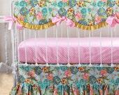 Bumperless Baby Bedding, Custom Baby Girl Bedding with Lily Belle flounce ruffle skirt