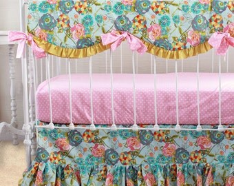 Bumperless Baby Bedding, Custom Baby Girl Bedding with Lily Belle flounce ruffle skirt