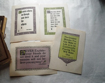 5 Roycroft Motto Prints plus Elbert Hubbard's Scrap Book