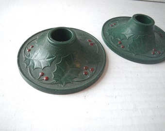 1940s Christmas Candle Holders Pair Hard Composite Red & Green Holly