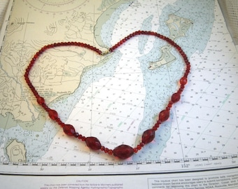 Graduated Red Glass Bead Necklace - Czech Faceted Crystal