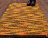 Handwoven Rug-28x43 woven from Recycled Blankets-Gold, Brown, Orange, Green