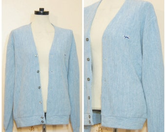 Pastel Blue Cardigan Sweater Oversized Fox Lacoste 90s Pastel Goth Preppty