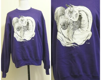 Horse Sweatshirt Small Medium Purple 80s 90s Animal Shirt Unicorn Cute Hipster