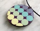 Fashion accessory, round wooden pendant, leather cord, pastel circles design, lilac, mint, sage,pale lemon, style 13