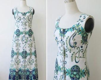 on SALE. 1960s Vintage Dress, Button Front White Dress with Ocean Tones Print