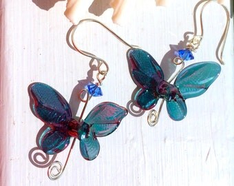 Shimmering Teal, Blue & Pink Lampwork Butterfly Earrings on Sterling Silver Wire