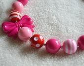 Pink and Red Heart  Bow Valentine's Day Necklace Photo Prop For Girls
