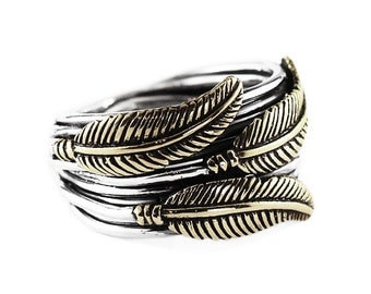 Silver Feather Ring Sterling Brass Unique Custom Rings Crape Diem Jewelry