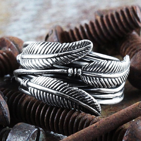 Silver Feather Ring Sterling Wire Bohemian Jewellery