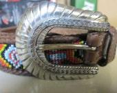 "Beaded Belt Native American Tribal Style Handmade Mexican Leather Vintage ""Tribal"" Seed Bead Beauty Ornate Alpaca Silver Buckle UNISEX Belt"
