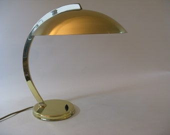 Desk Lamp HILLEBRAND Bauhaus Table Light Brass Mid Century Vintage 1940s-50s