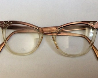 Vintage 1950s - 69's Cats Eye Glasses Roackabilly Brozetone Engraved & Clear Plastic Frames