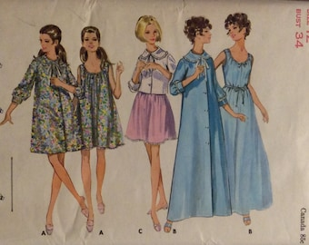 Vintage Sewing Pattern Nightgown Housecoat Bedjacket Robe 1960's Lingerie Miss 12 Uncut