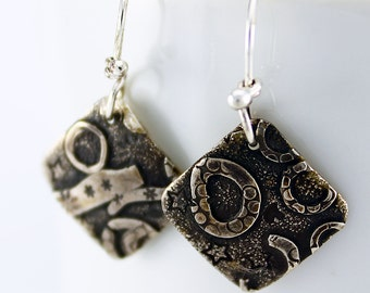 Handcrafted Sterling Silver Square Dangle/Drop Earrings Fused Hand Stamped Collage Design OOAK Contemporary Artisan Jewelry 0440568532916