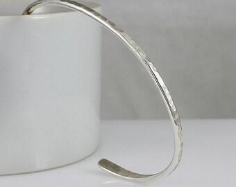 "Handcrafted Sterling Silver Slim Cuff Bracelet Hammer Texture 2 3/4 "" Diameter Minimalist Contemporary Artisan Jewelry Design 7178335822714"
