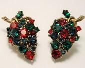 Vintage crystal grapes earrings.  Clip on earrings