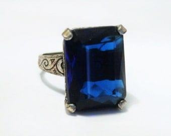 Vintage Celtic style ring.  Blue glass ring.  Adjustable ring.