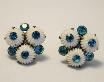 Vintage white flower earrings.  Blue crystal earrings.  Screw back earrings