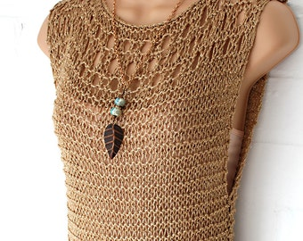 Gold Mesh Loose knit Top